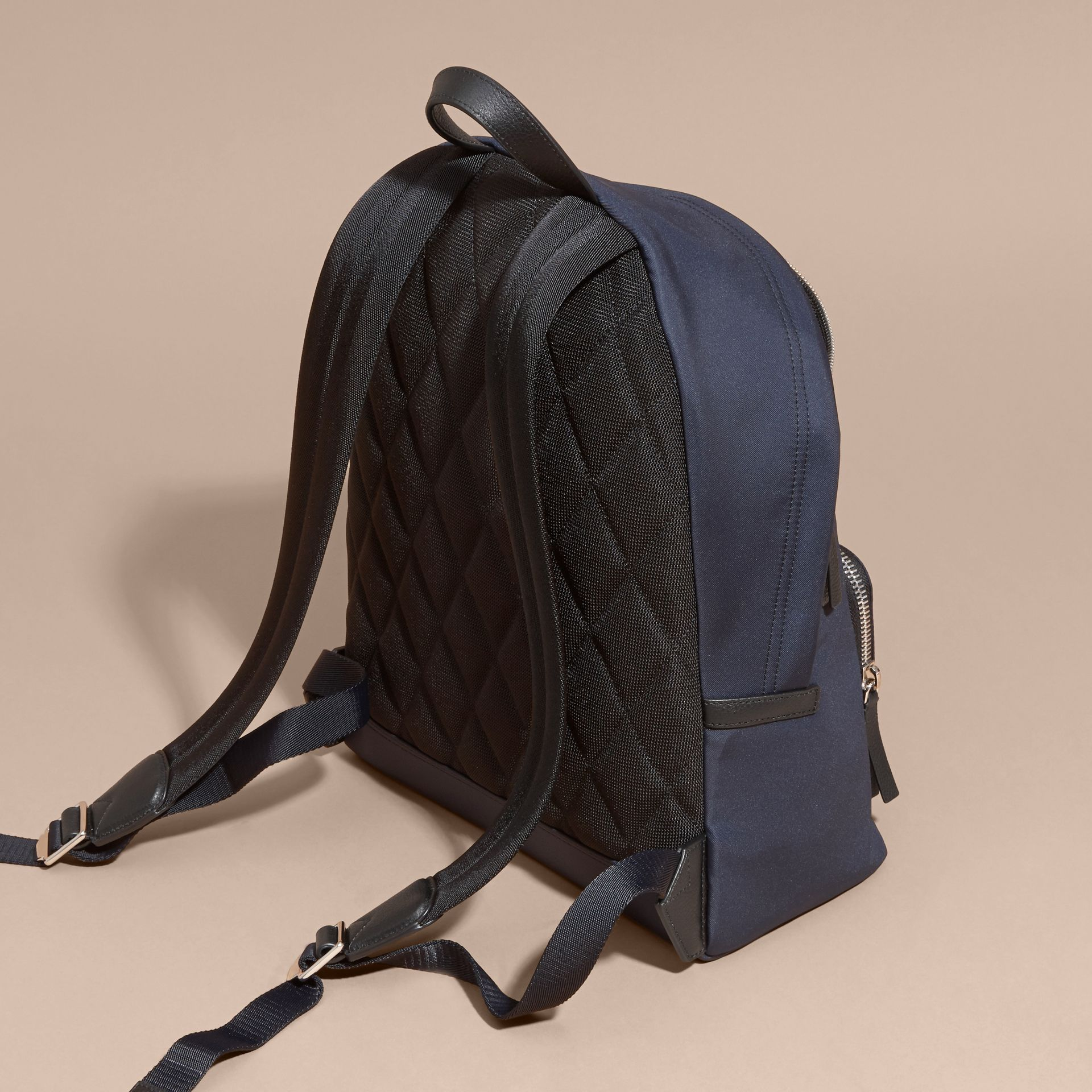Leather Trim Technical Backpack in Dark Navy - Men | Burberry Australia - gallery image 4