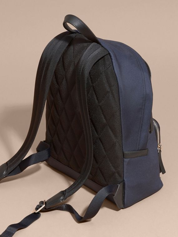 Leather Trim Technical Backpack in Dark Navy - Men | Burberry Australia - cell image 3
