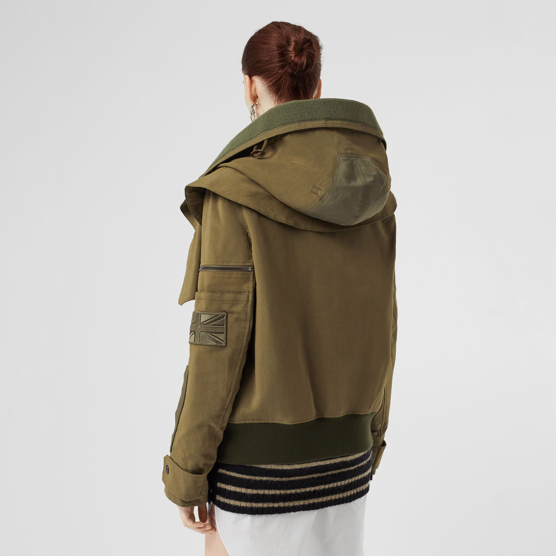 Detachable Hood Cotton Silk Twill Jacket in Khaki Green - Women | Burberry - gallery image 2