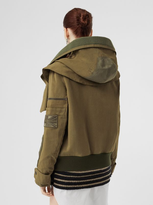 Detachable Hood Cotton Silk Twill Jacket in Khaki Green - Women | Burberry United States - cell image 2