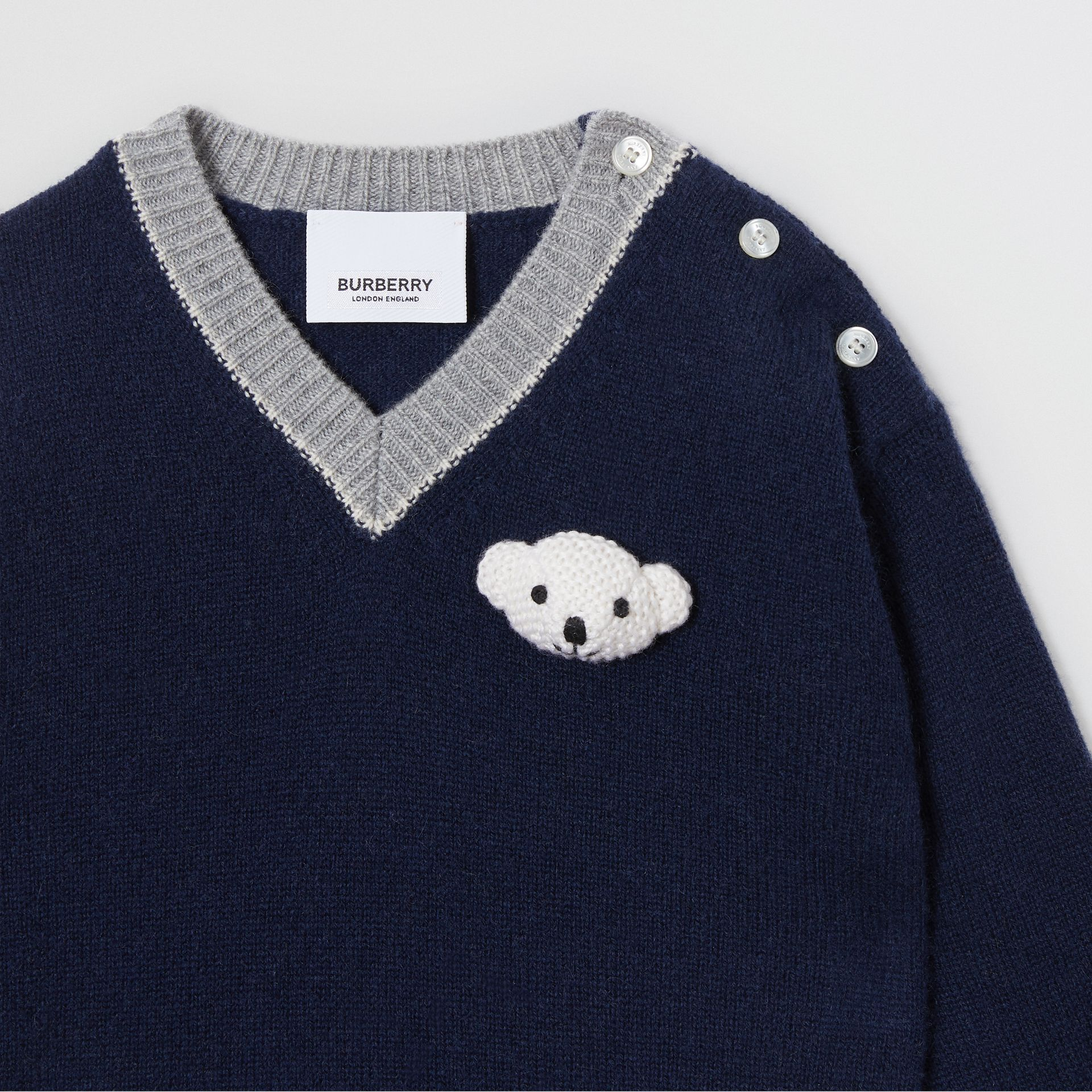 Thomas Bear Detail Wool Cashmere Sweater in Navy - Children | Burberry Canada - gallery image 4