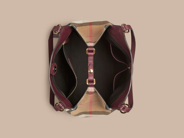 Rouge acajou Petit sac The Canter en cuir avec motif House check Rouge Acajou - cell image 4