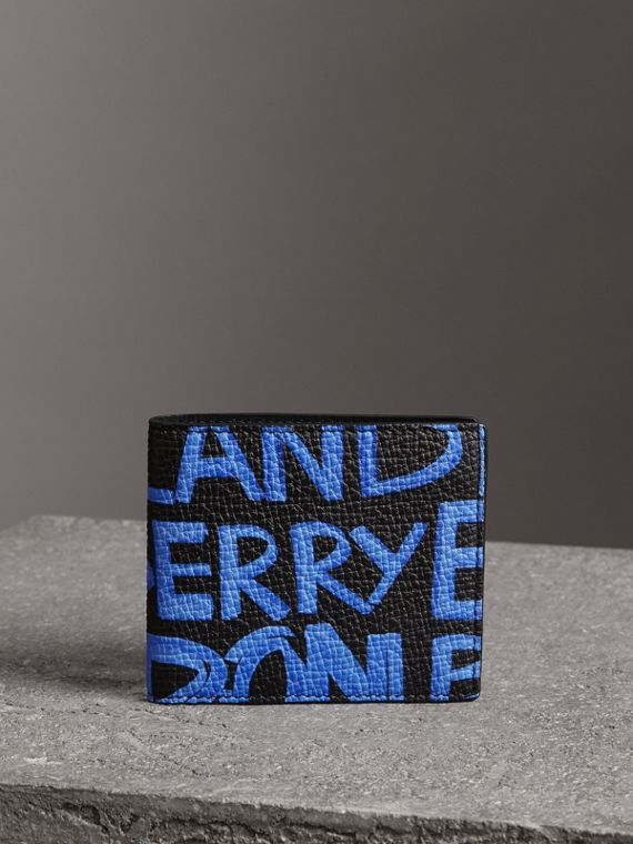 Graffiti Print Leather International Bifold Wallet in Blue/black