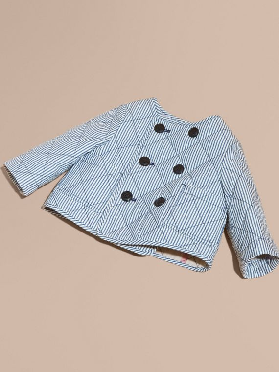 Collarless Striped Quilted Cotton Blend Jacket - Children | Burberry