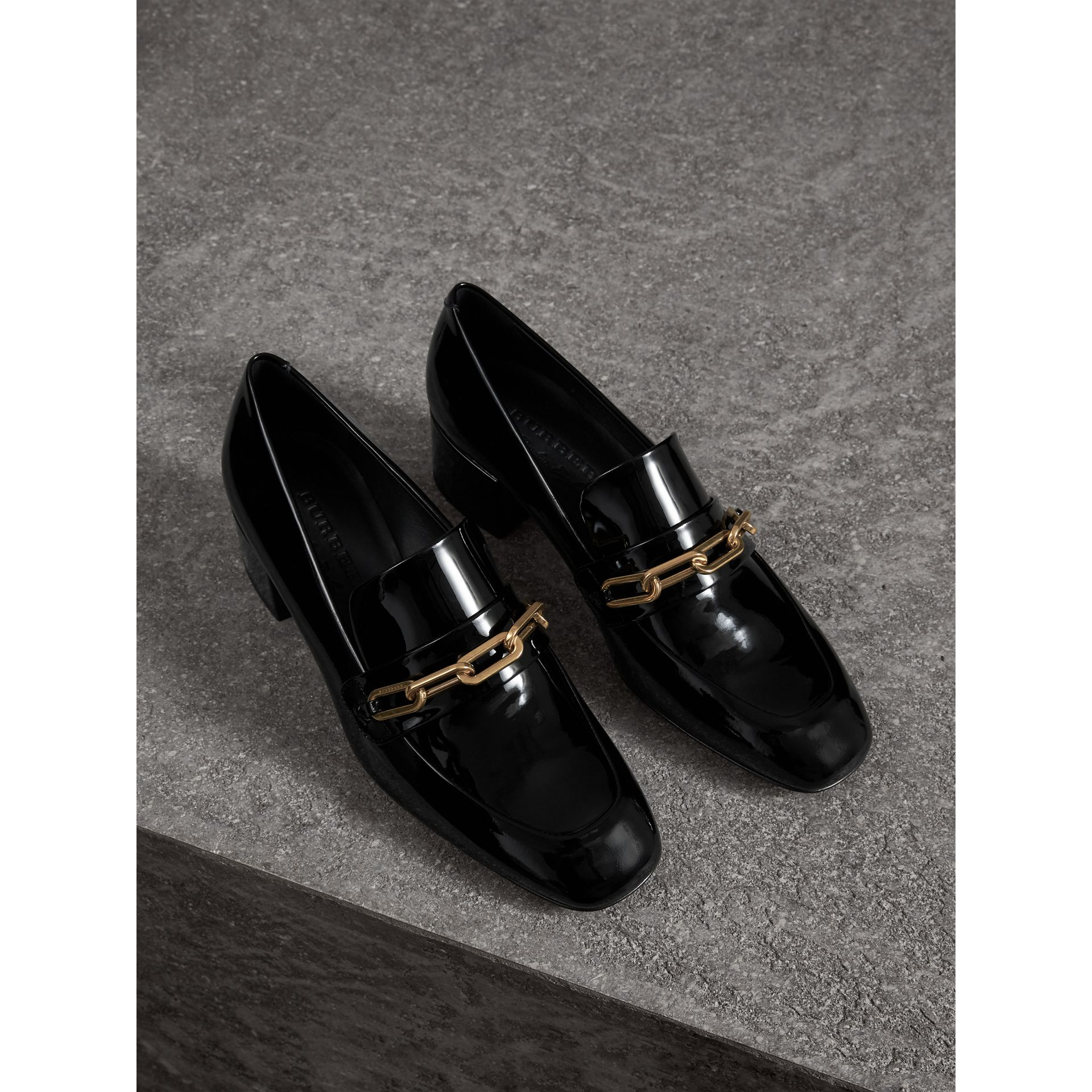 Link Detail Patent Leather Block-heel Loafers in Black - Women | Burberry - gallery image 4
