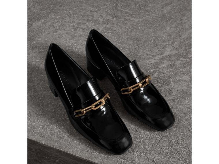 Link Detail Patent Leather Block-heel Loafers in Black - Women | Burberry - cell image 4