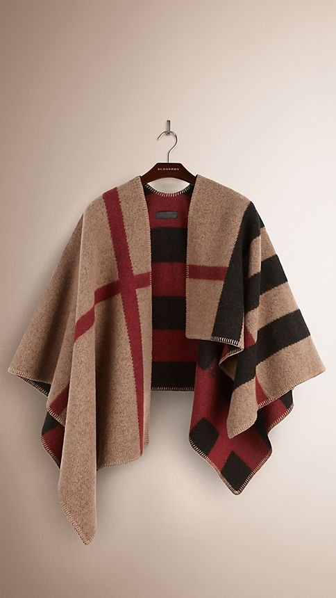 House check/black Check Wool and Cashmere Blanket Poncho House Check/black - Image 3