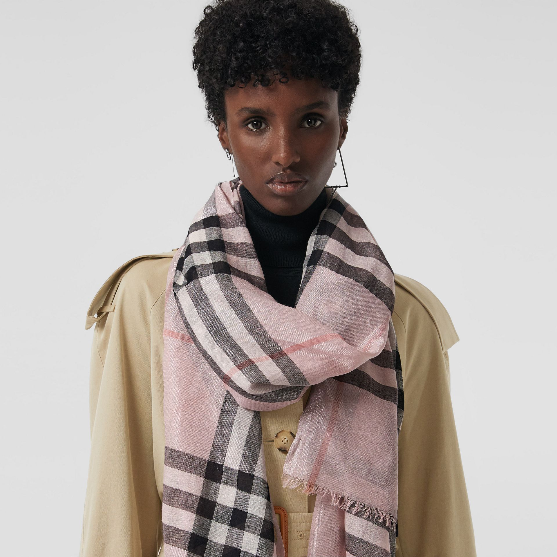 Metallic Check Silk and Wool Scarf in Ash Rose/silver | Burberry - gallery image 4