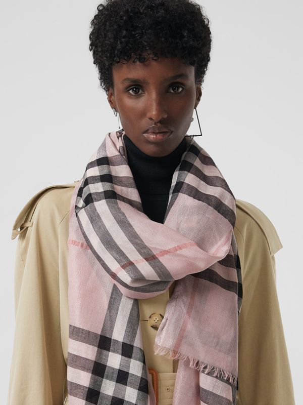 Metallic Check Silk and Wool Scarf in Ash Rose/silver - Women | Burberry - cell image 3