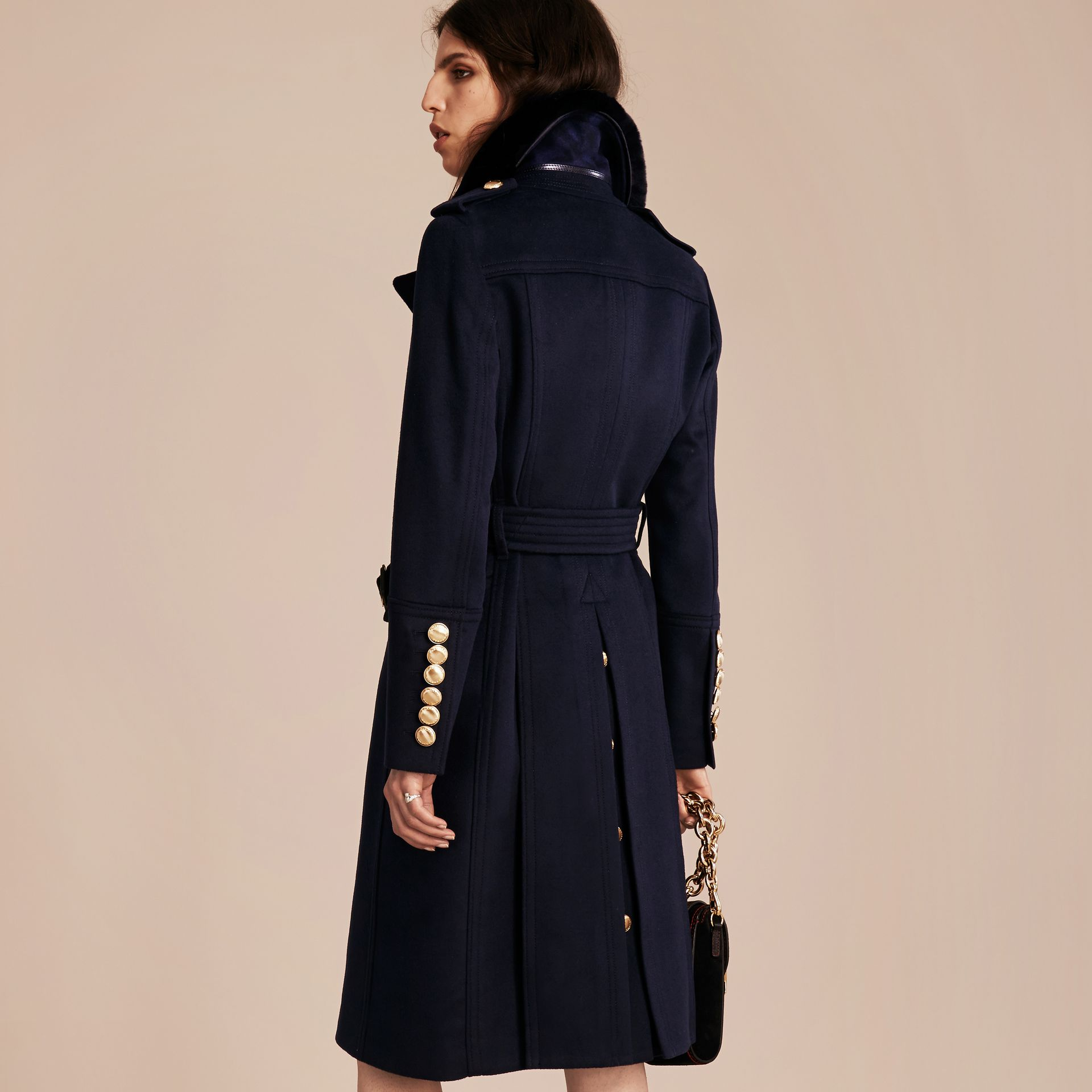 Navy Wool Cashmere Trench Coat with Detachable Fur Collar - gallery image 3