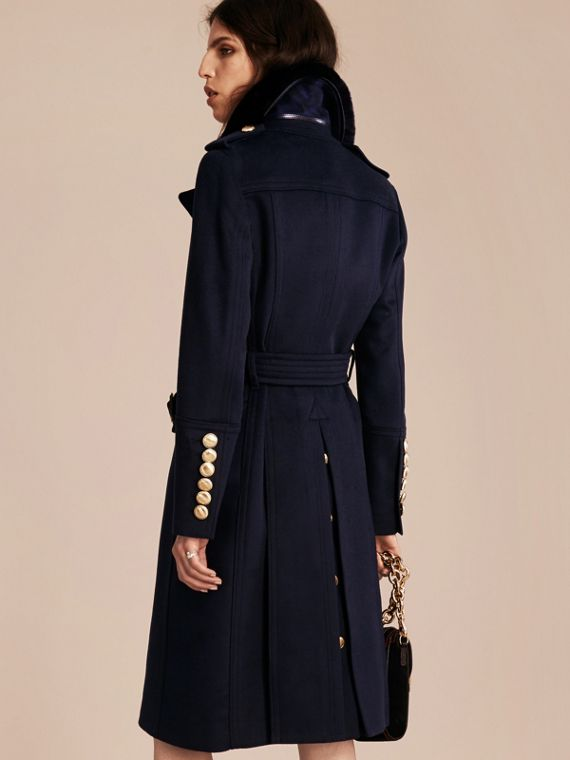 Navy Wool Cashmere Trench Coat with Detachable Fur Collar - cell image 2