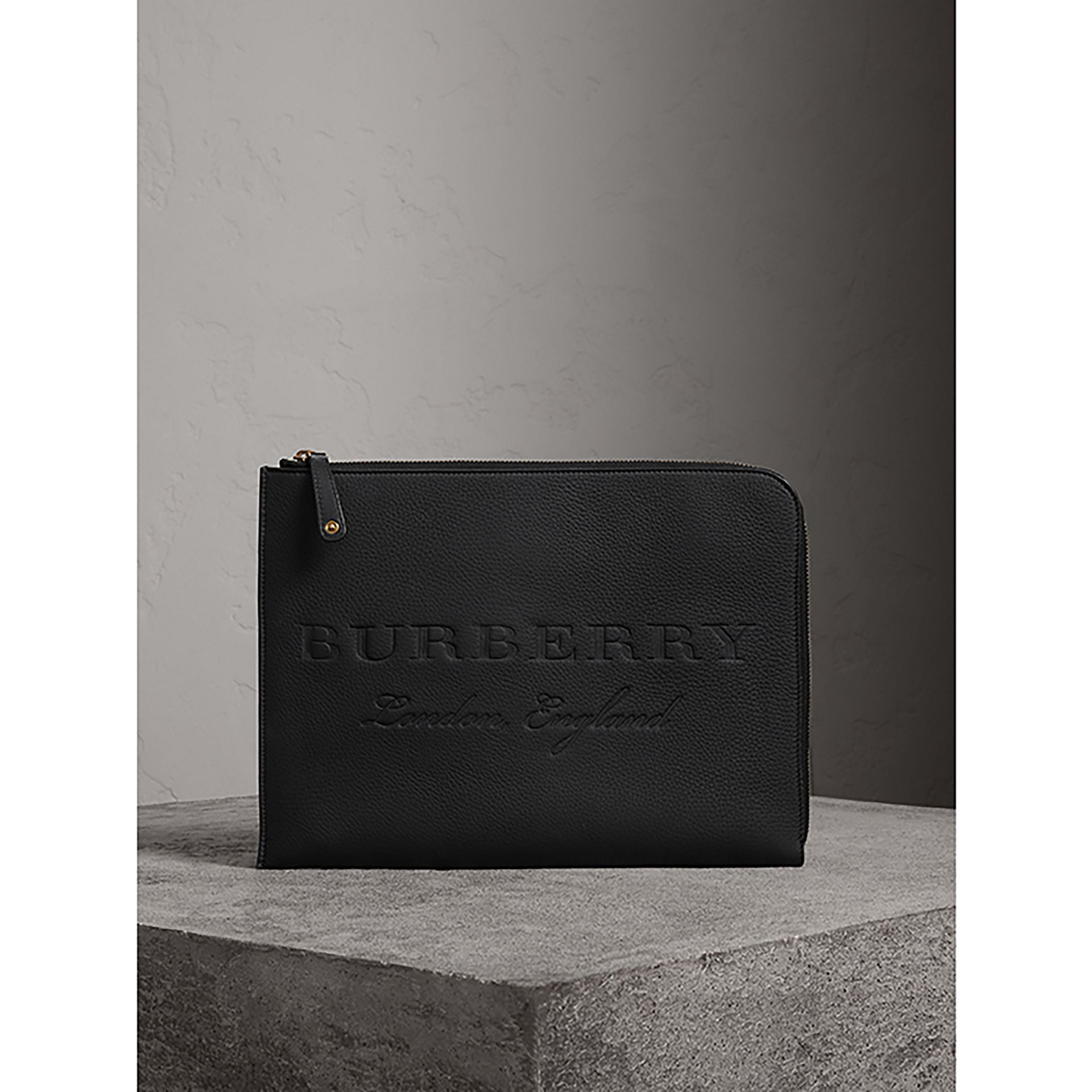 Embossed Leather Document Case in Black - Men | Burberry - gallery image 1