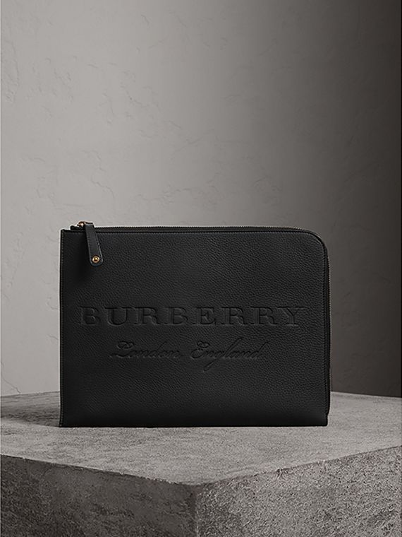 Embossed Leather Document Case in Black