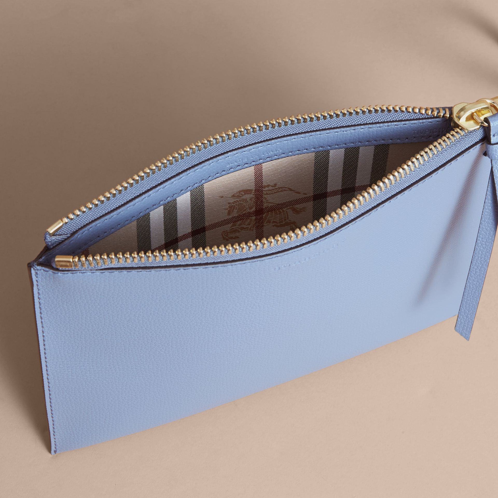 Haymarket Check and Leather Pouch in Slate Blue - Women | Burberry - gallery image 5