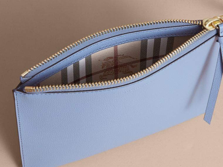 Haymarket Check and Leather Pouch in Slate Blue - Women | Burberry Australia - cell image 4
