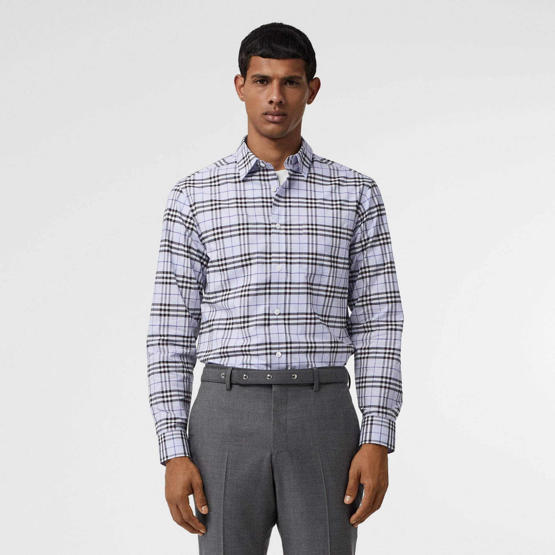 Check Stretch Cotton Shirt in Sky Blue - Men | Burberry - gallery image 5