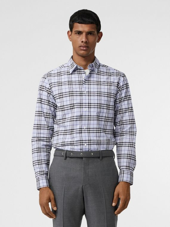 Check Stretch Cotton Shirt in Sky Blue