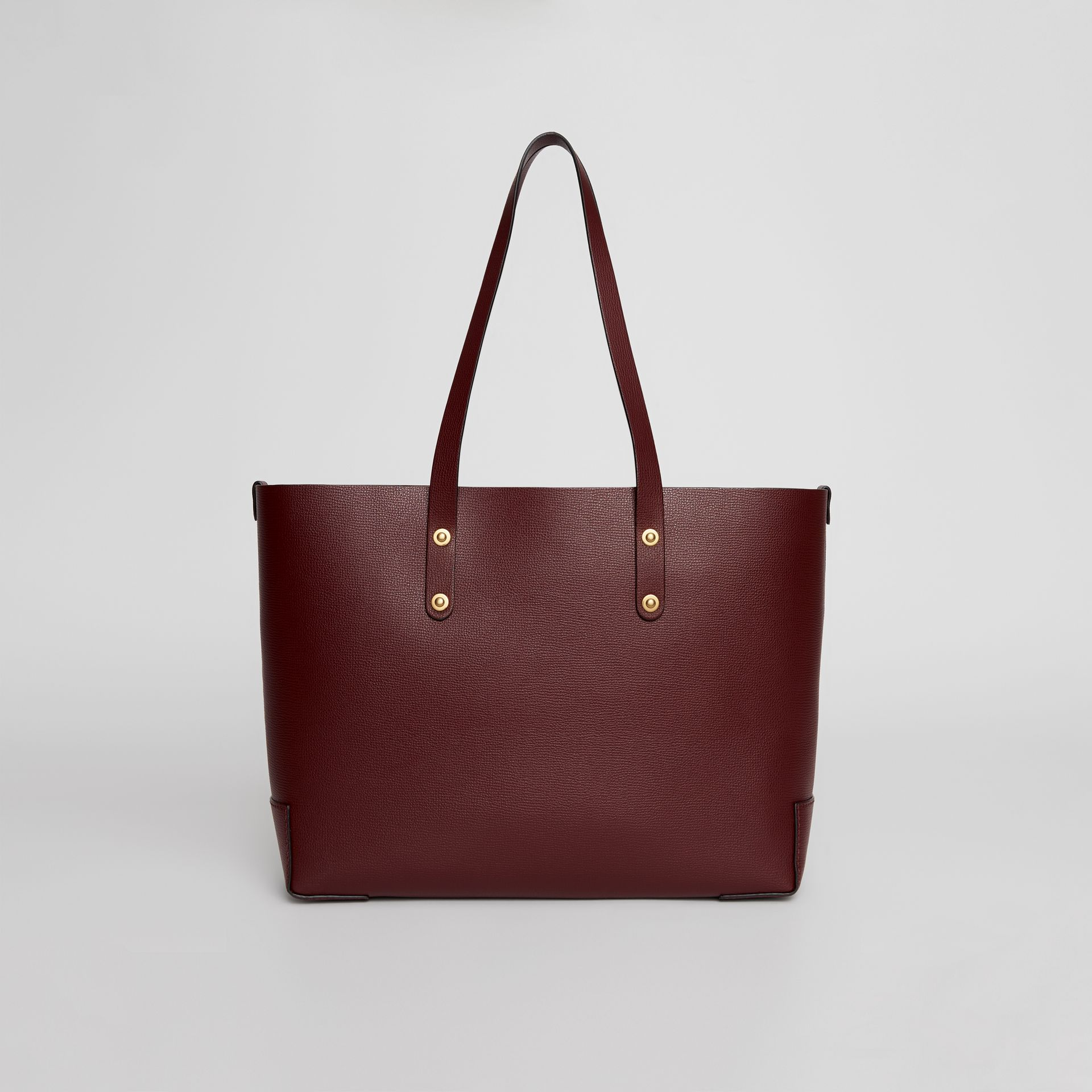 Small Embossed Crest Leather Tote in Burgundy | Burberry United Kingdom - gallery image 7