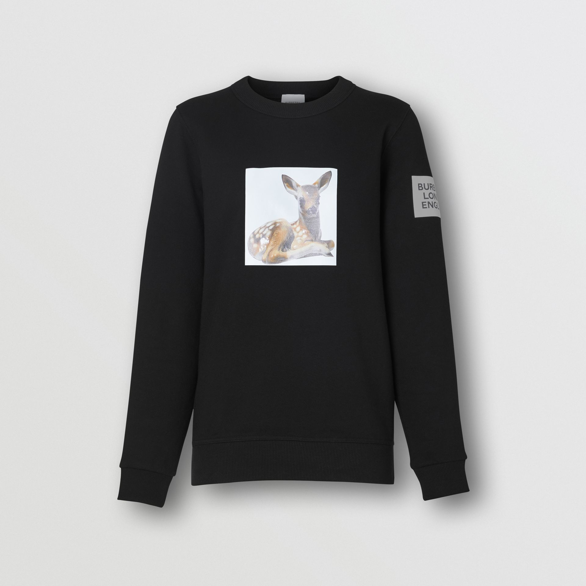 Deer Print Cotton Oversized Sweatshirt in Black - Women | Burberry - gallery image 3