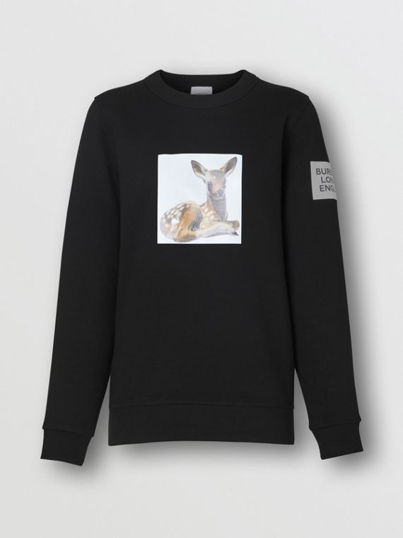 Deer Print Cotton Oversized Sweatshirt in Black