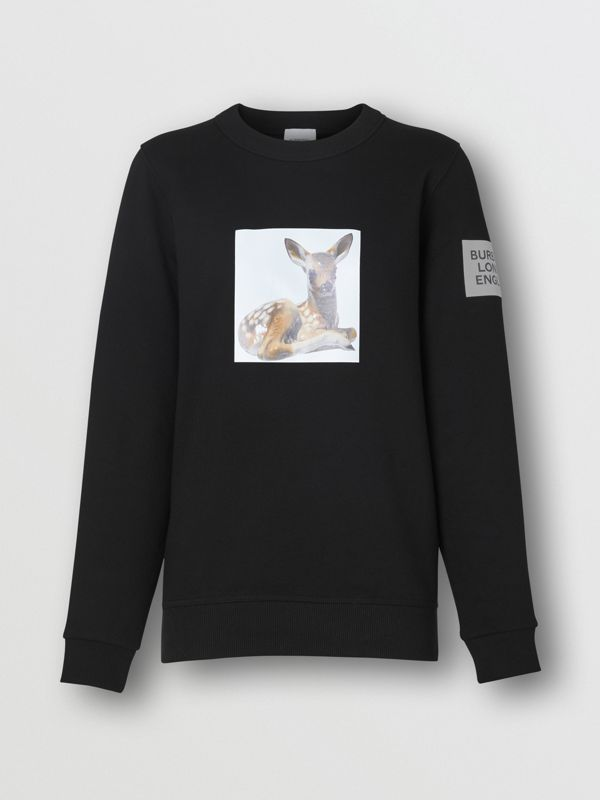 Deer Print Cotton Oversized Sweatshirt in Black - Women | Burberry Singapore - cell image 3