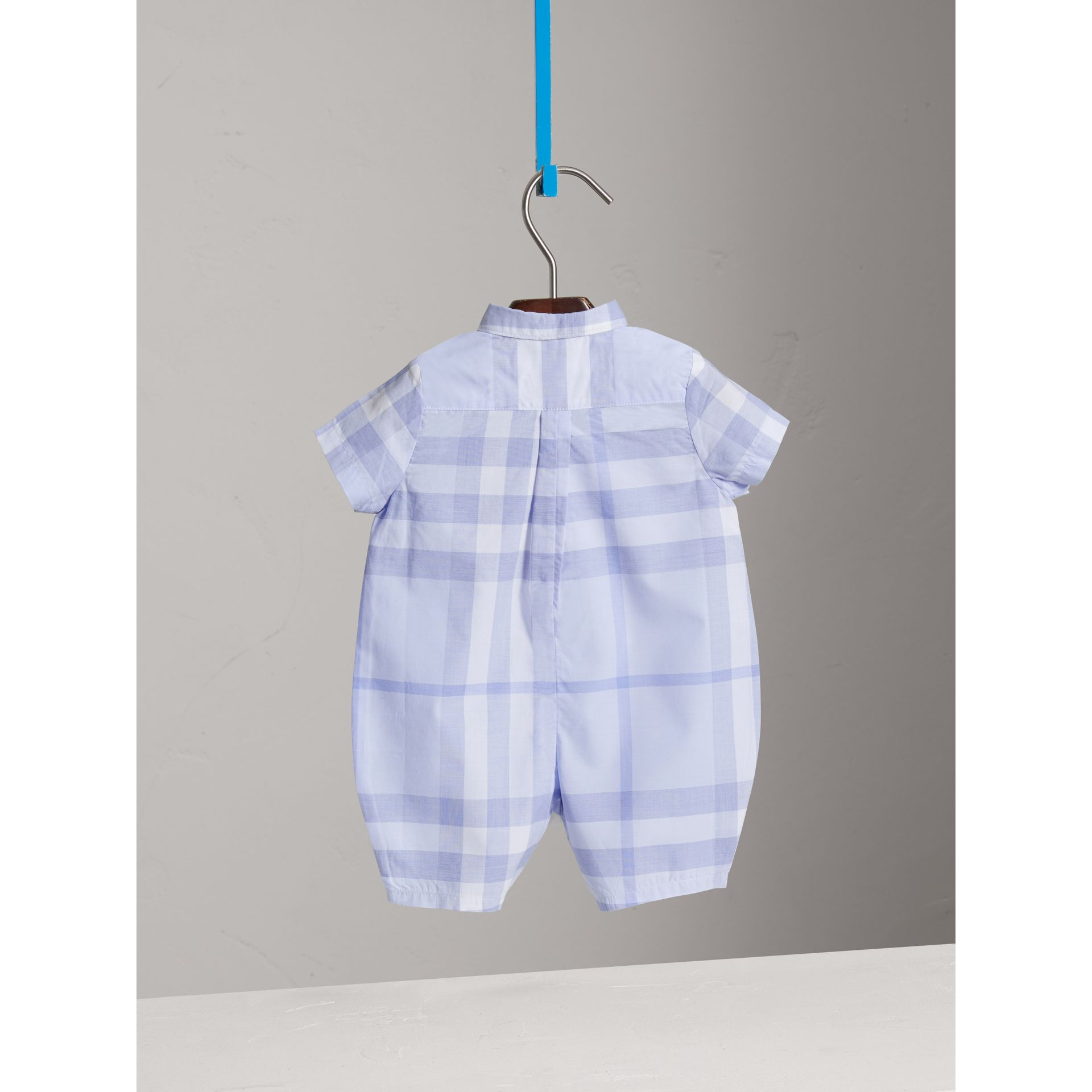 Check Cotton Playsuit in Ice Blue | Burberry United Kingdom - gallery image 3