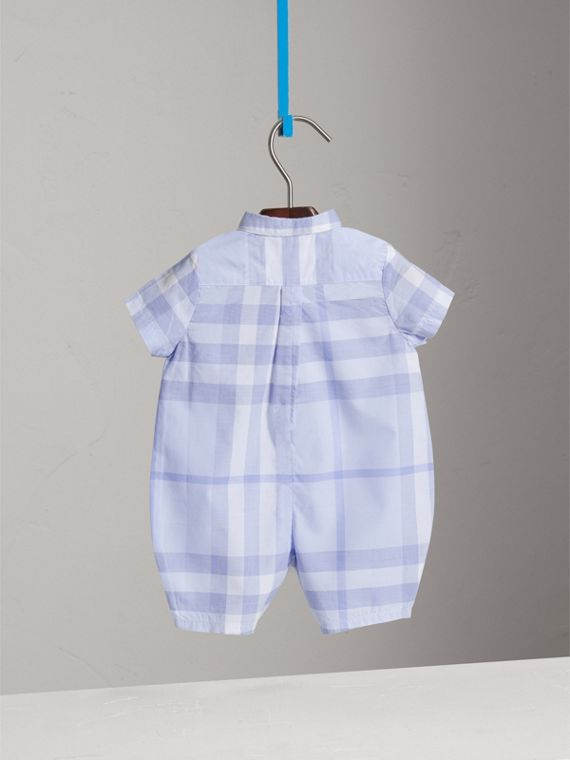 Check Cotton Playsuit in Ice Blue | Burberry - cell image 3