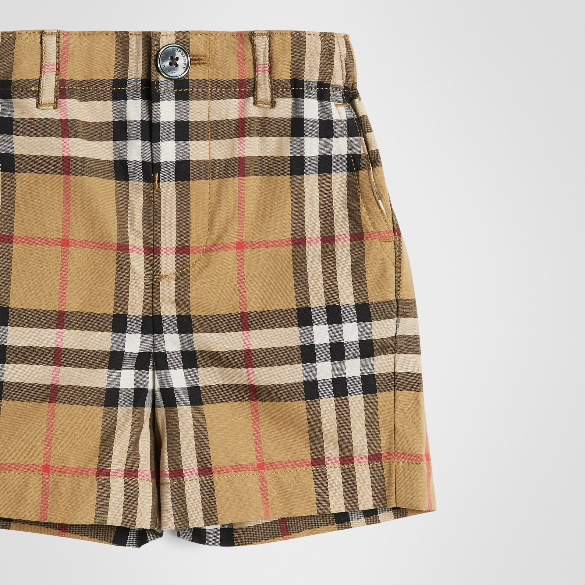 Vintage Check Cotton Tailored Shorts in Antique Yellow - Children | Burberry - gallery image 4