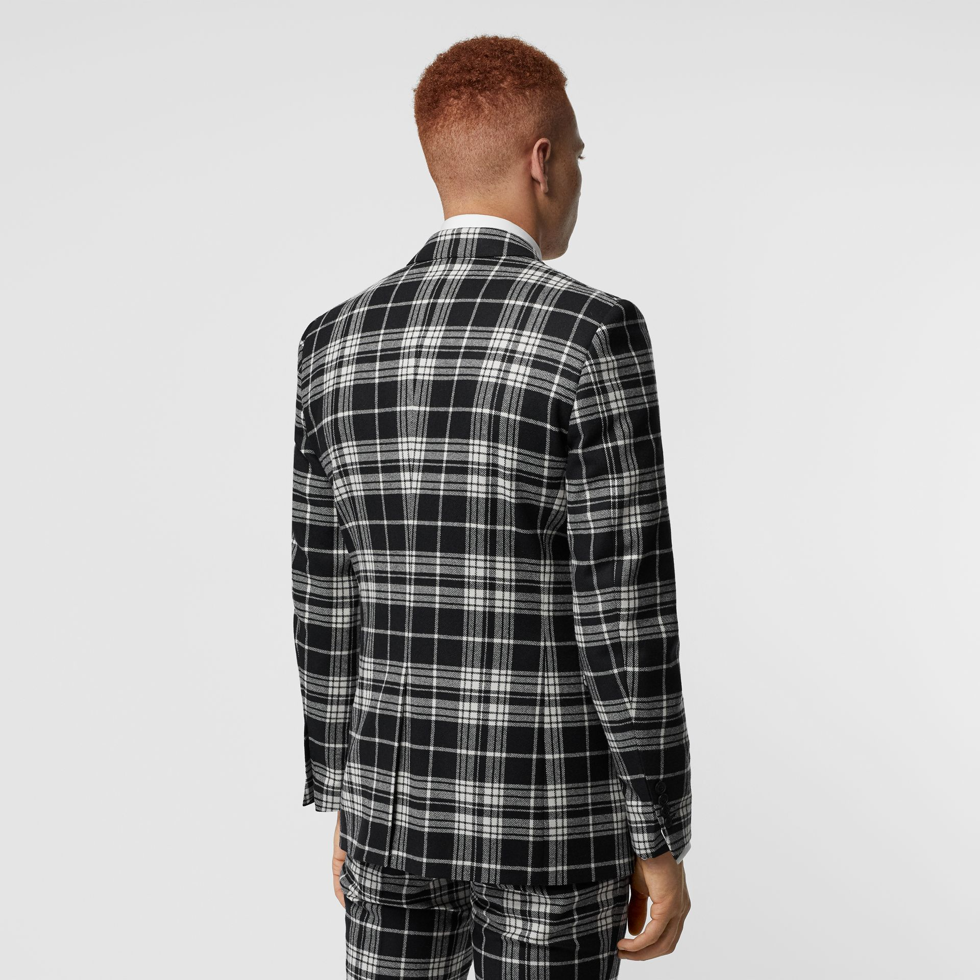 Classic Fit Tartan Wool Cashmere Tailored Jacket in Black - Men | Burberry - gallery image 2