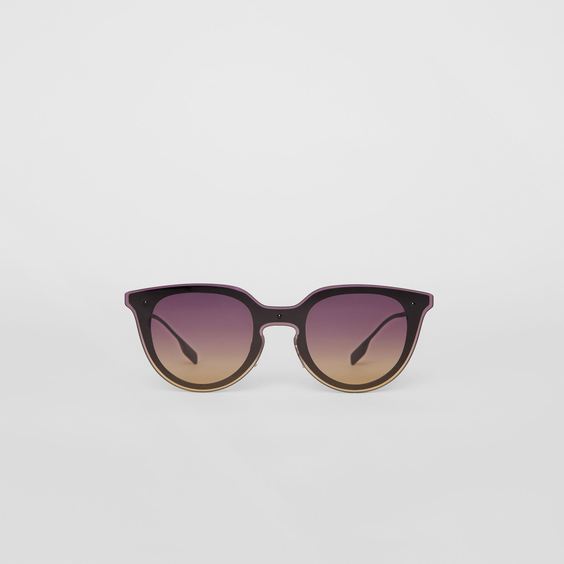 Keyhole Round Frame Shield Sunglasses in Purple - Women | Burberry - gallery image 0