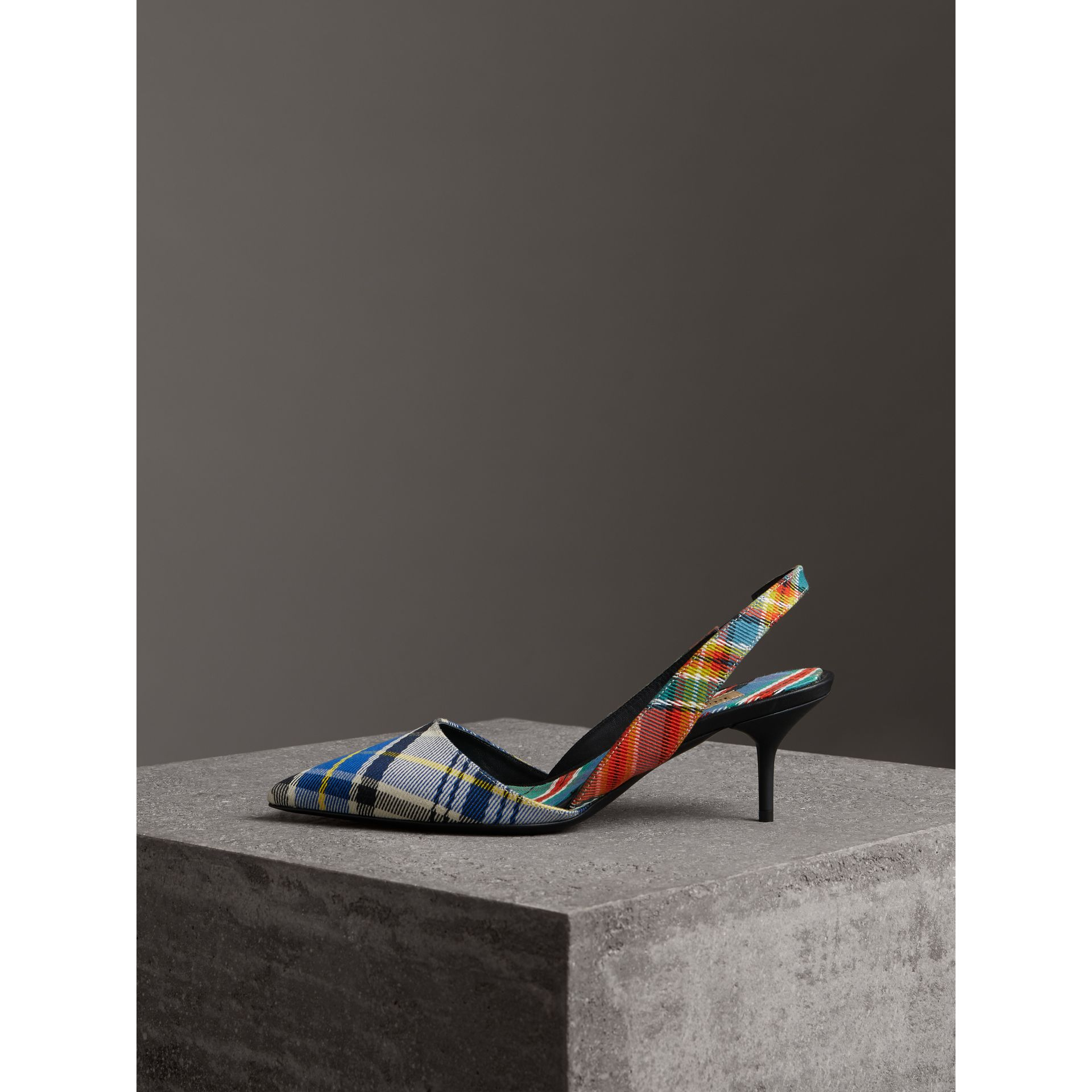 Tartan Cotton Slingback Pumps in Poppy Orange - Women | Burberry Canada - gallery image 4