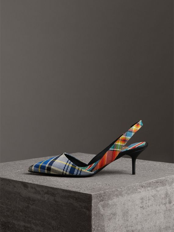 Tartan Cotton Slingback Sandals in Poppy Orange - Women | Burberry Canada - cell image 3