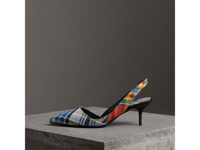 Tartan Cotton Slingback Pumps in Poppy Orange - Women | Burberry - cell image 4