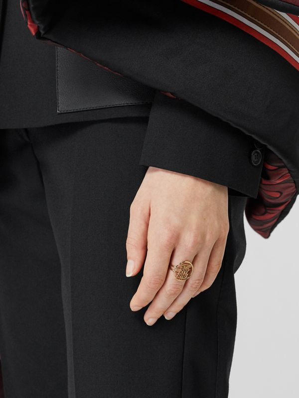 Gold-plated Monogram Motif Ring in Light - Women | Burberry - cell image 2