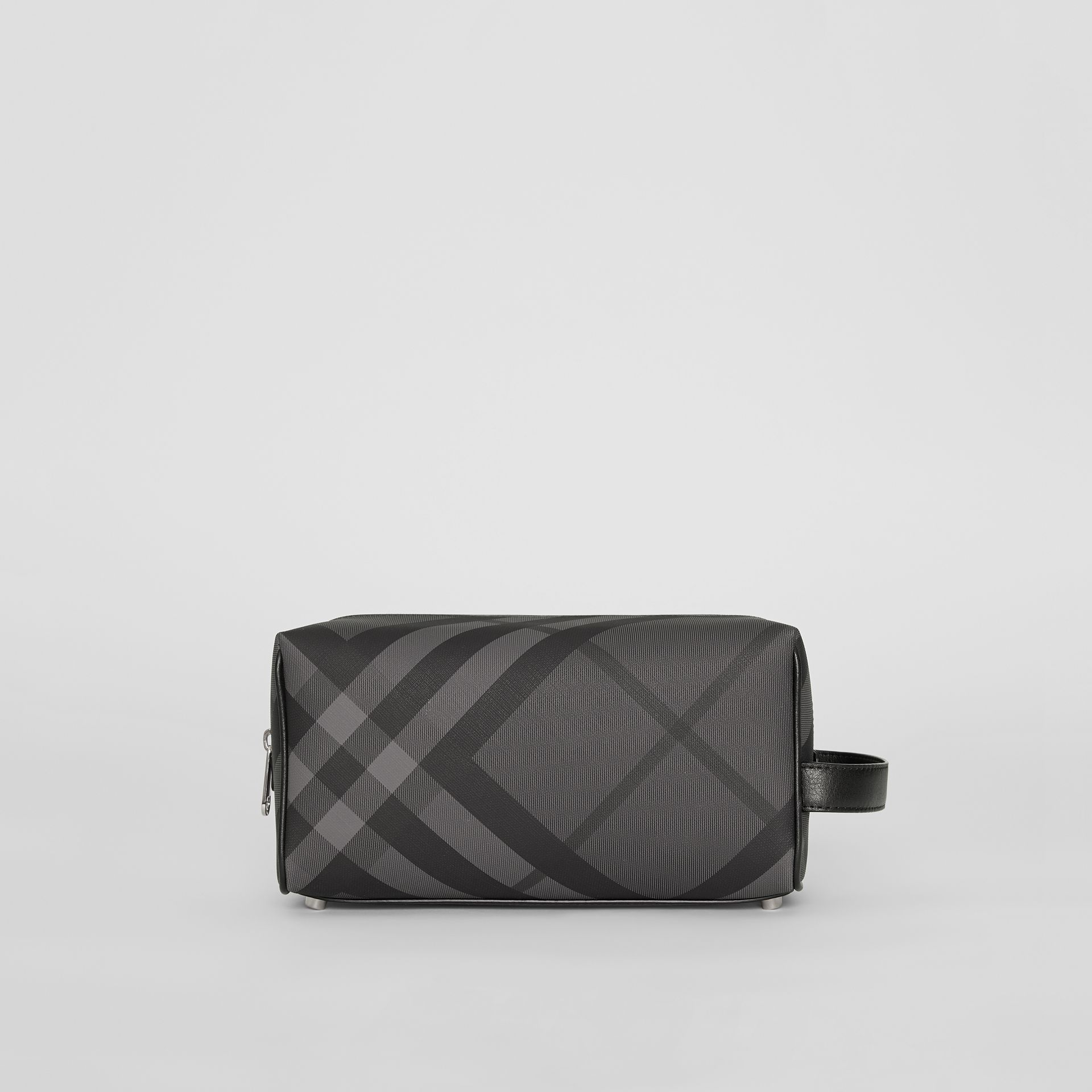 London Check and Leather Pouch in Charcoal/black - Men | Burberry Australia - gallery image 4