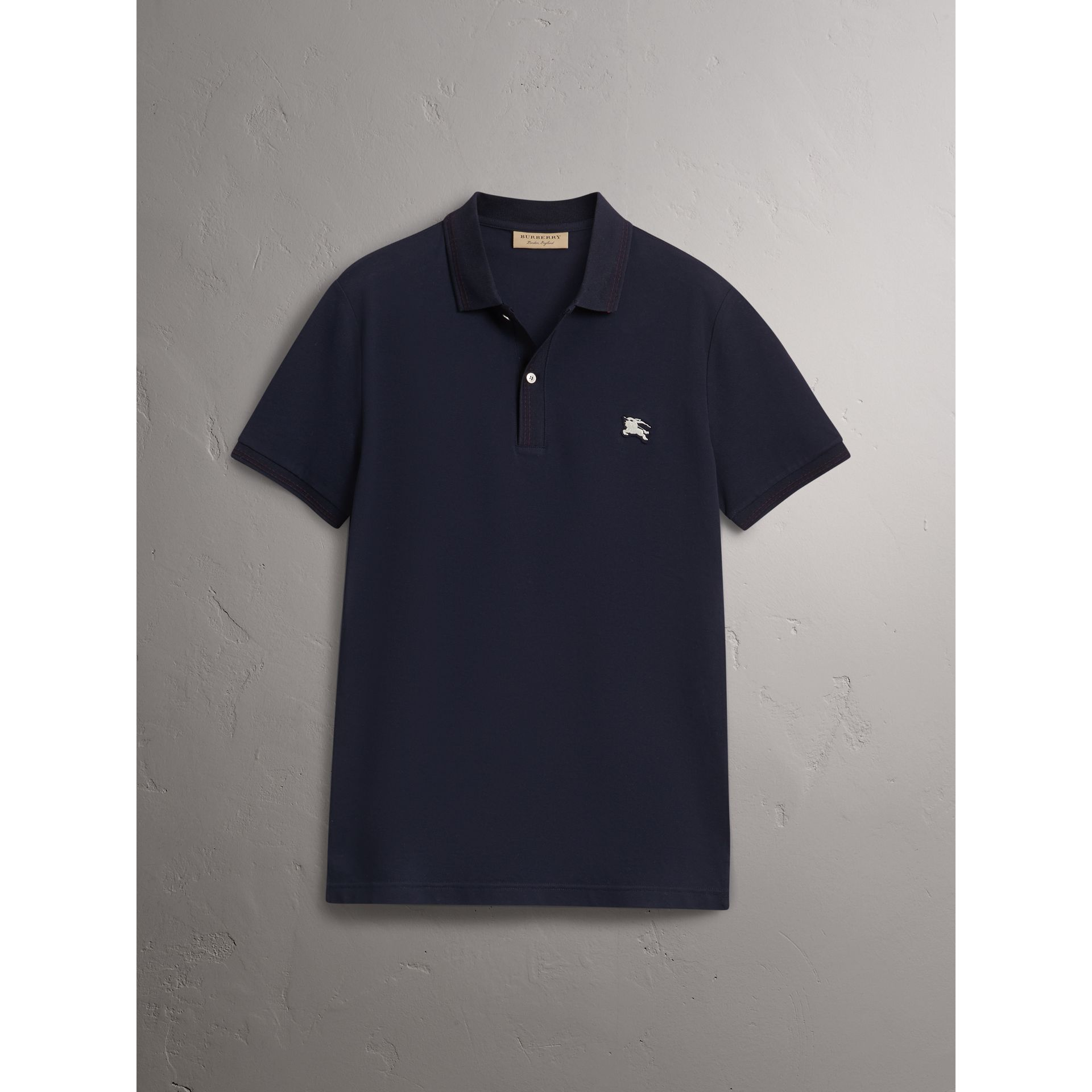 Cotton Piqué Polo Shirt in Navy - Men | Burberry - gallery image 3