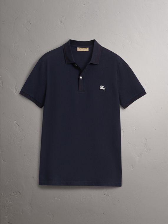 Cotton Piqué Polo Shirt in Navy - Men | Burberry Hong Kong - cell image 3