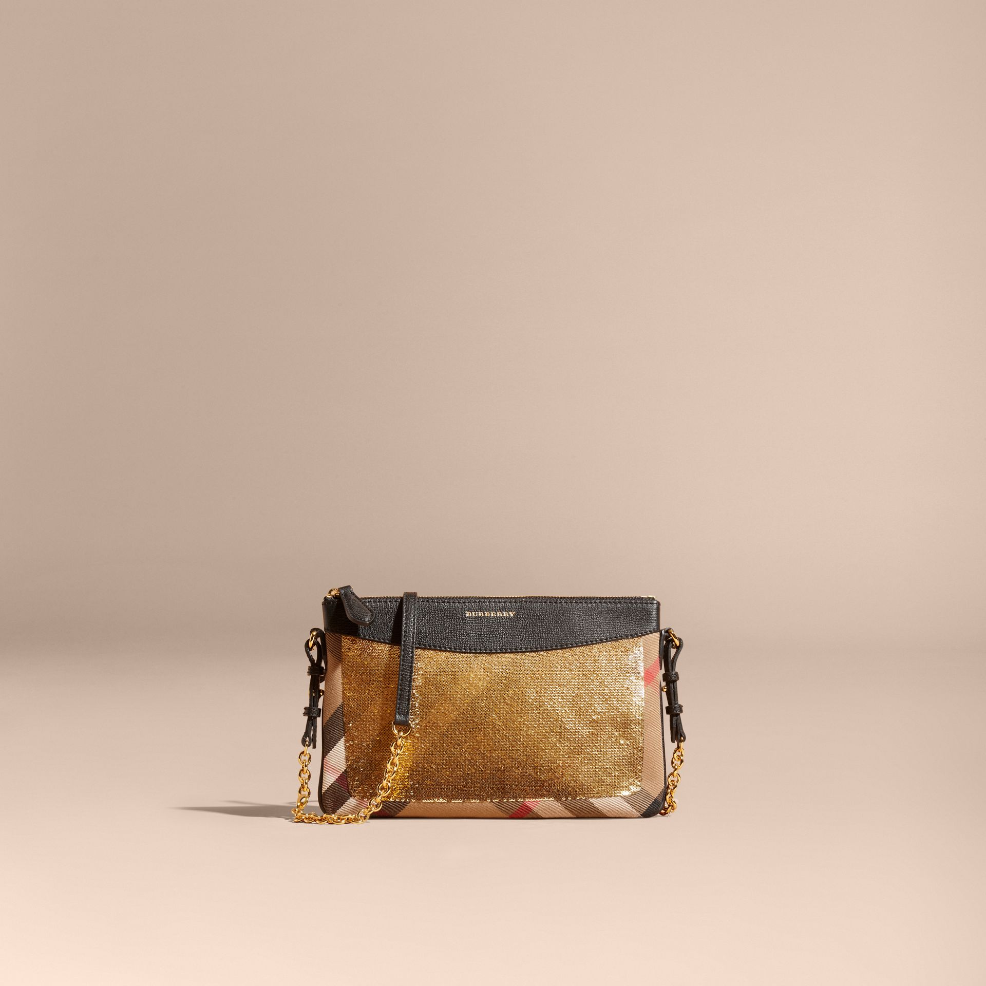 Leather, Sequin and Check Clutch Bag in Gold/black - gallery image 9