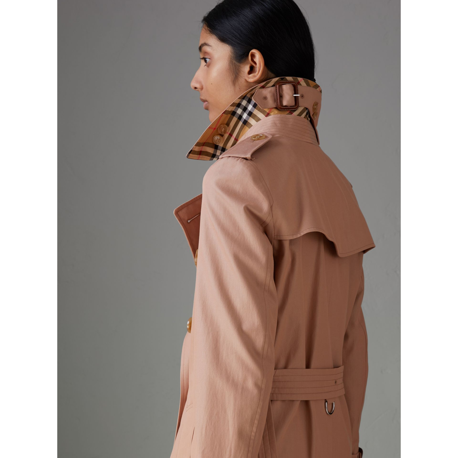 Tropical Gabardine Trench Coat in Pink Apricot - Women | Burberry Australia - gallery image 4