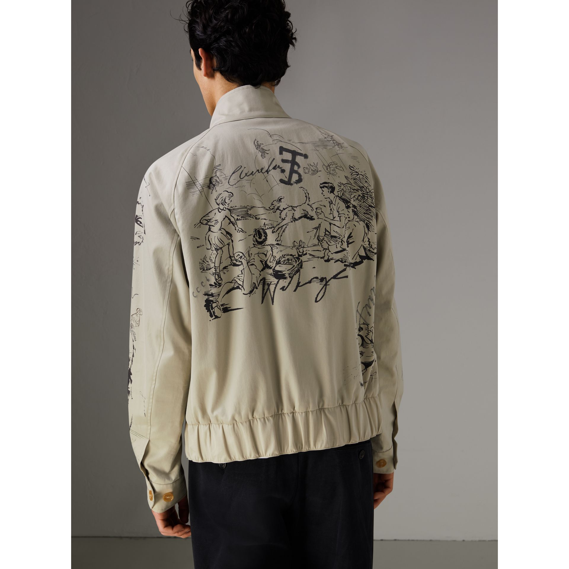 Sketch Print Harrington Jacket in Stone - Men | Burberry Singapore - gallery image 2