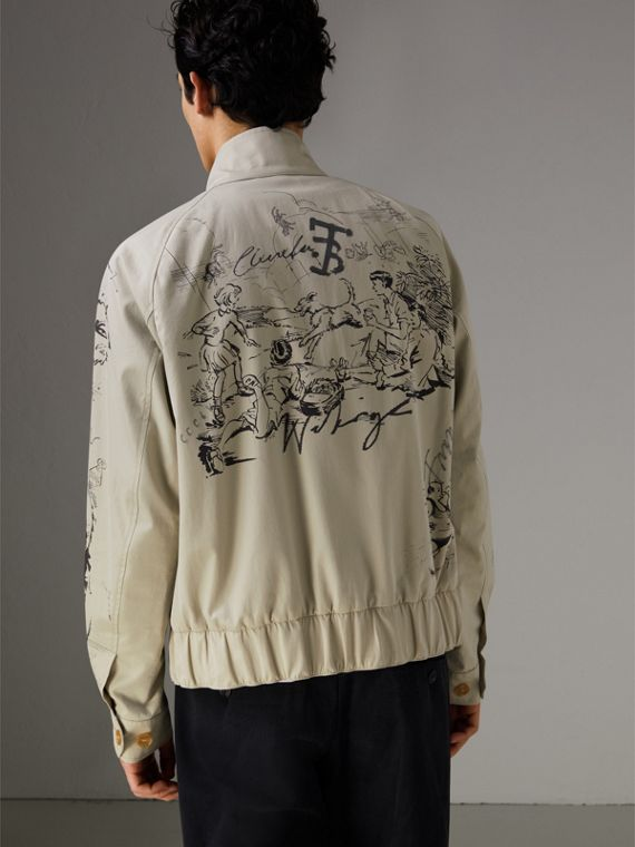 Sketch Print Harrington Jacket in Stone - Men | Burberry - cell image 2
