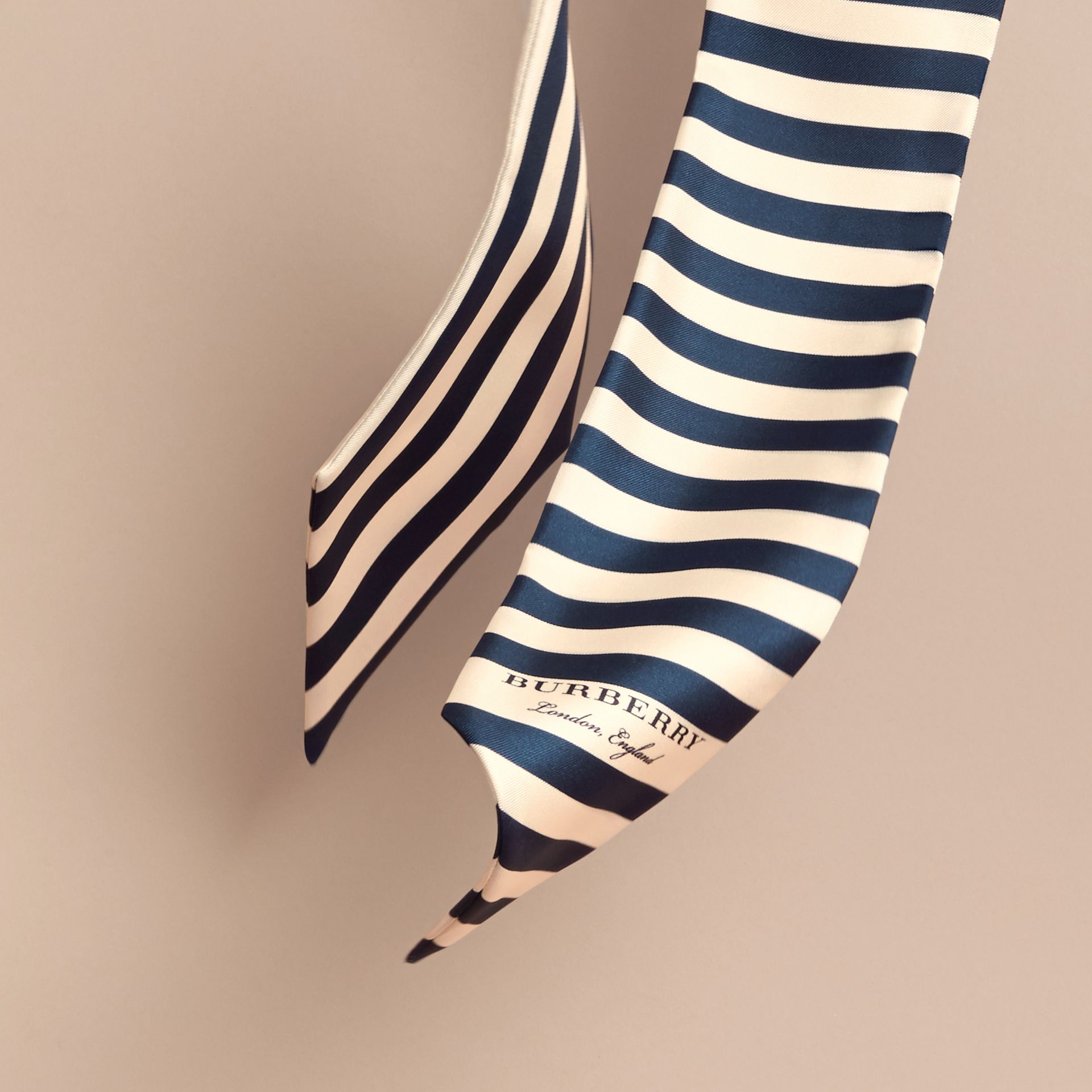 Slim Striped Silk Scarf in Navy - Women | Burberry - gallery image 4