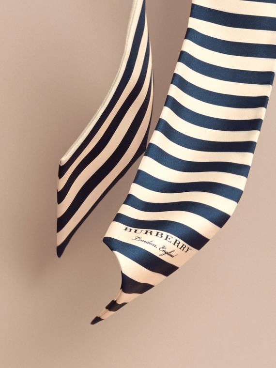 Slim Striped Silk Scarf in Navy - Women | Burberry - cell image 3