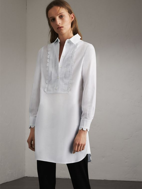 Pintuck Bib Scallop Detail Cotton Shirt - Women | Burberry Singapore