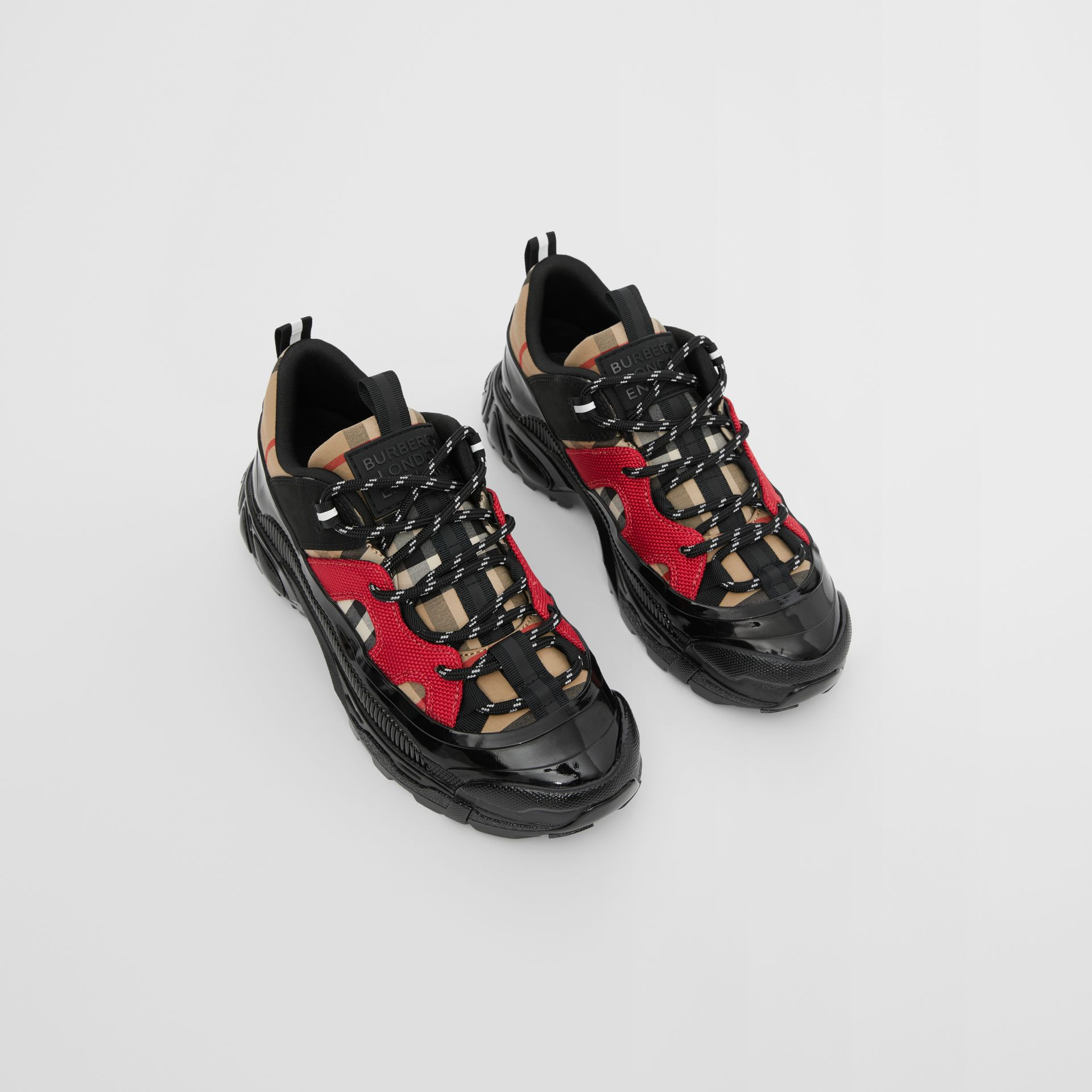 Vintage Check Cotton and Nubuck Sneakers in Black/bright Red - Children | Burberry United States - gallery image 0
