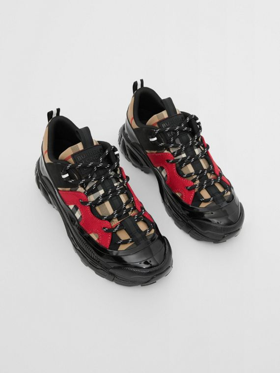 Vintage Check Cotton and Nubuck Sneakers in Black/bright Red