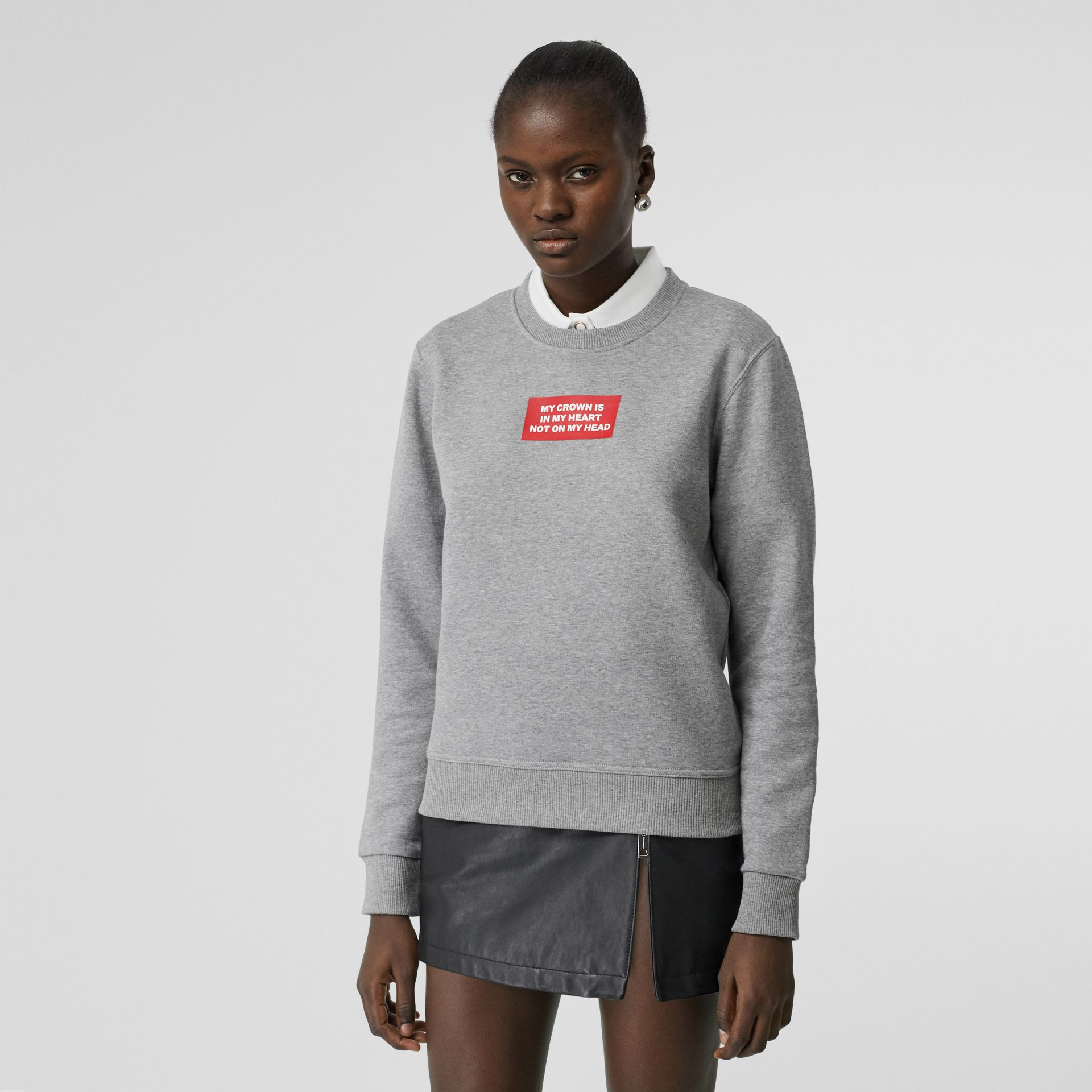 Quote Print Cotton Sweatshirt in Pale Grey Melange - Women | Burberry Hong Kong S.A.R - gallery image 0