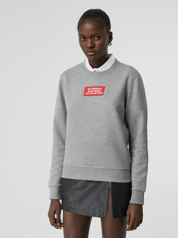 Quote Print Cotton Sweatshirt in Pale Grey Melange