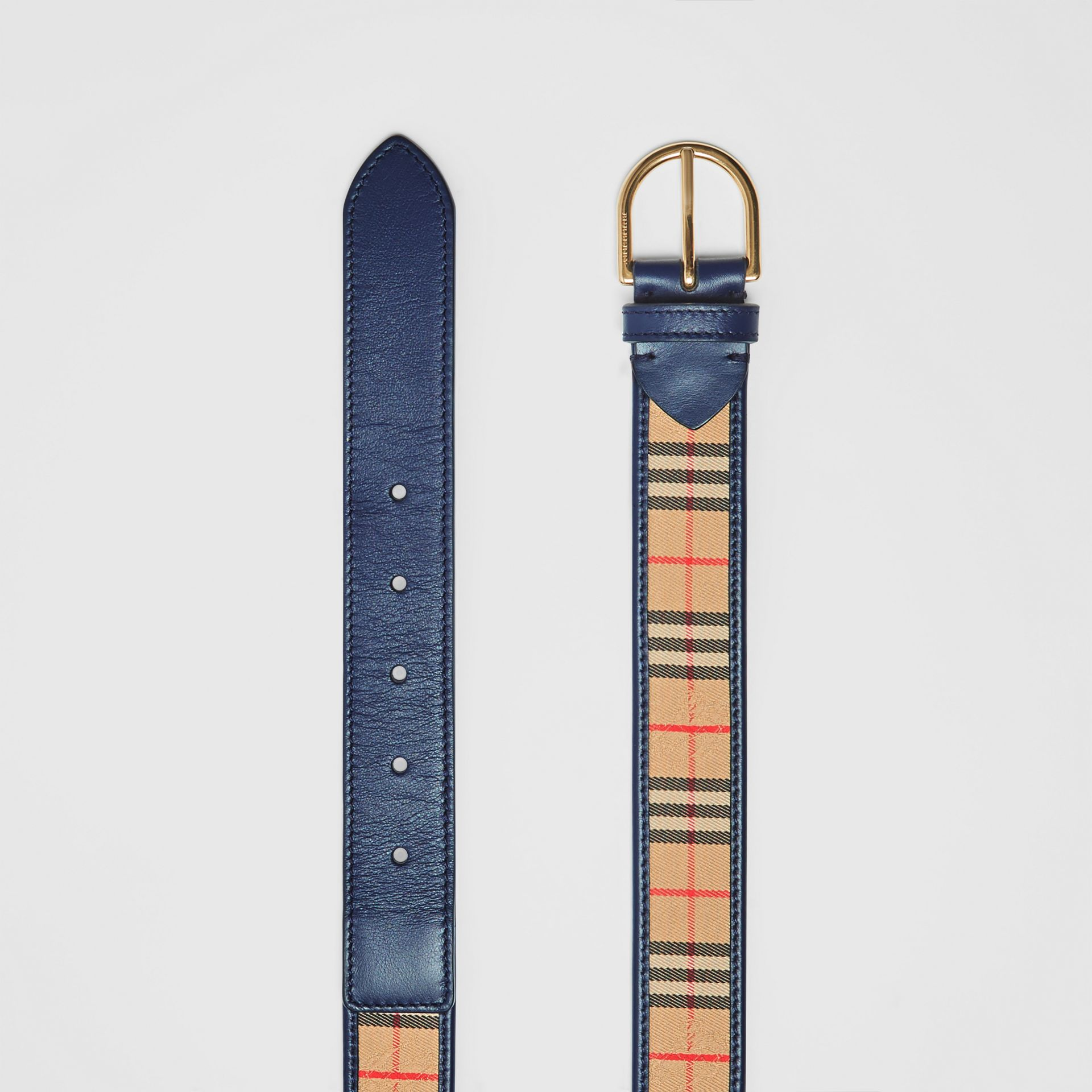 1983 Check and Leather D-ring Belt in Ink Blue - Men | Burberry Australia - gallery image 4