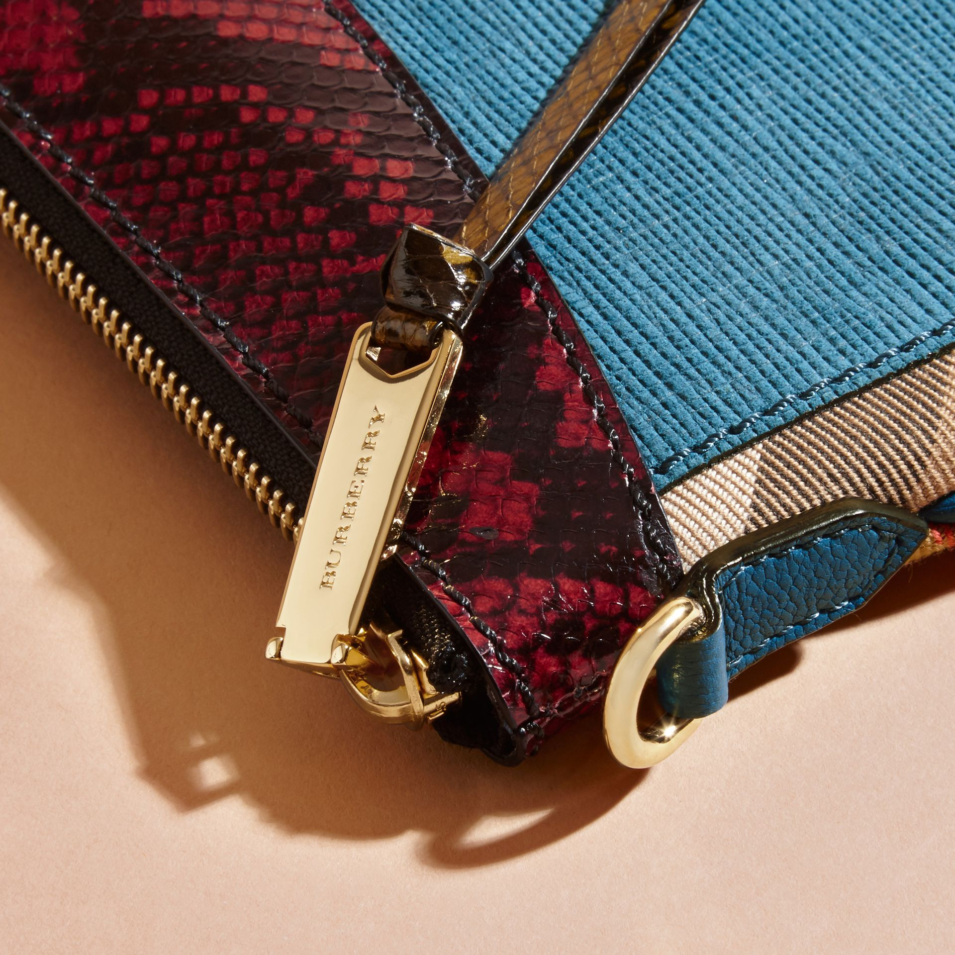 Leather, House Check and Snakeskin Clutch Bag in Peacock Blue - Women | Burberry - gallery image 2
